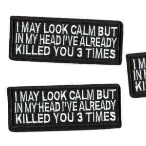 FUNNY 3-PACK NOVELTY PATCHES QUOTE PHRASE BADGES